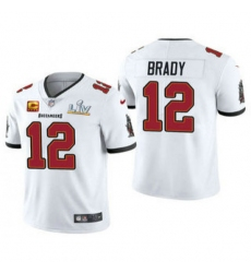 Men Tom Brady Tampa Bay Buccaneers White Captain Patch Super Bowl Patch Vapor Limited Jersey