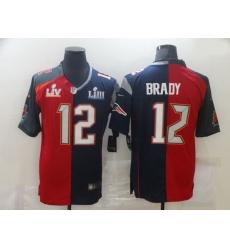Men Nike Tampa Bay Buccaneers  26 New England Patriots 12 Tom Brady Men Red Navy Blue Limited NFL 2020 2021 super bowl Jersey