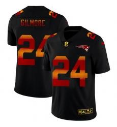 New England Patriots 24 Stephon Gilmore Men Black Nike Red Orange Stripe Vapor Limited NFL Jersey