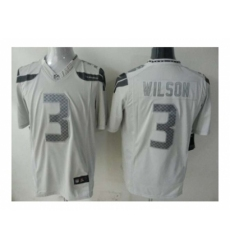 Nike seattle seahawks 3 Russell Wilson White game Platinum NFL Jersey