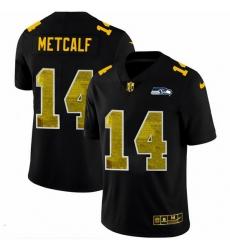 Seattle Seahawks 14 DK Metcalf Men Black Nike Golden Sequin Vapor Limited NFL Jersey