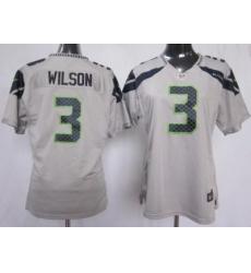 Women Nike Seattle Seahawks #3 Wilson Grey NFL Jerseys