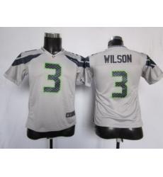 Youth Nike Seattle Seahawks #3 Wilson Grey Nike NFL Jerseys