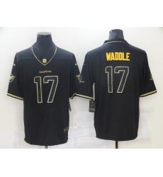 Men Miami Dolphins Jaylen Waddle 17 Orange 2021 Black Gold Limited Stitched NFL Jersey