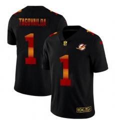 Miami Dolphins 1 Tua Tagovailoa Men Black Nike Red Orange Stripe Vapor Limited NFL Jersey