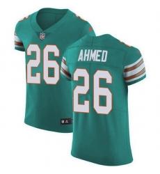 Nike Miami Dolphins 26 Salvon Ahmed Aqua Green Alternate Men Stitched NFL New Elite Jersey