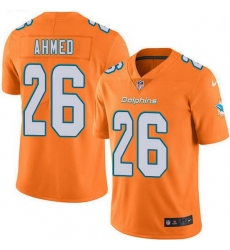Nike Miami Dolphins 26 Salvon Ahmed Orange Men Stitched NFL Limited Rush Jersey