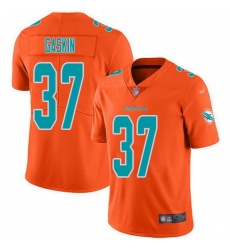 Nike Miami Dolphins 37 Myles Gaskin Orange Men Stitched NFL Limited Inverted Legend Jersey