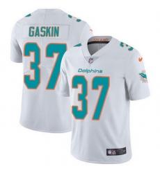 Nike Miami Dolphins 37 Myles Gaskin White Men Stitched NFL Vapor Untouchable Limited Jersey