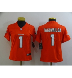 Women Nike Miami Dolphins Tua Tagovailoa 1 Orange Limited Jersey