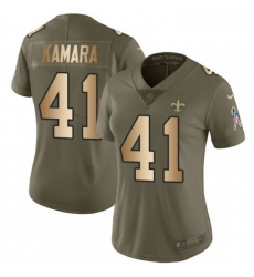 Womens Nike New Orleans Saints 41 Alvin Kamara Limited OliveGold 2017 Salute to Service NFL Jersey