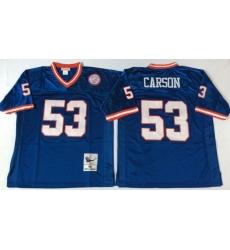 Men New York Giants 53 Harry Carson Blue M&N Throwback Jersey
