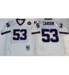 Men New York Giants 53 Harry Carson White M&N Throwback Jersey