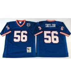 Men New York Giants 56 Lawrence Taylor Blue M&N Throwback Jersey