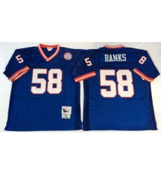 Men New York Giants 58 Carl Banks Blue M&N Throwback Jersey