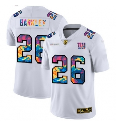 New York Giants 26 Saquon Barkley Men White Nike Multi Color 2020 NFL Crucial Catch Limited NFL Jersey