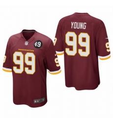 Washington Redskins 99 Chase Young Men Nike Burgundy Bobby Mitchell Uniform Patch NFL Game Jersey