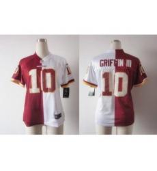 Nike Women Washington Redskins #10 Robert Griffin III White-Red Jerseys[Elite Split]