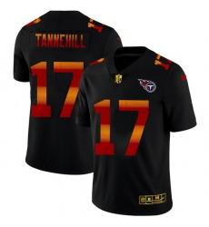 Tennessee Titans 17 Ryan Tannehill Men Black Nike Red Orange Stripe Vapor Limited NFL Jersey