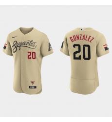 Arizona Diamondbacks 20 Luis Gonzalez Men Nike 2021 City Connect Authentic MLB Jersey Gold