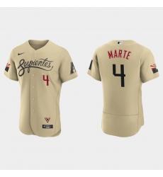 Arizona Diamondbacks 4 Ketel Marte Men Nike 2021 City Connect Authentic MLB Jersey Gold