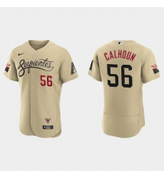 Arizona Diamondbacks 56 Kole Calhoun Men Nike 2021 City Connect Authentic MLB Jersey Gold