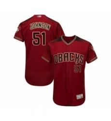 Men Arizona Diamondbacks 51 Randy Johnson Red Alternate Authentic Collection Flex Base Baseball Jersey