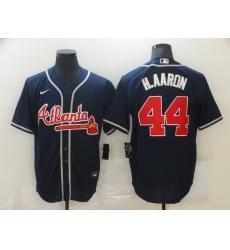 Men Atlanta Braves 44 Hank Aaron Navy Blue Stitched MLB Cool Base Nike Jersey