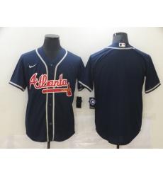 Men Atlanta Braves Nike Navy Blue Blank Jersey II