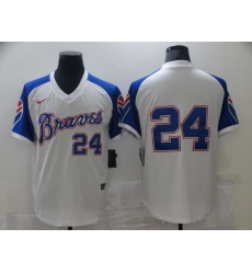 Men Nike Atlanta Braves Deion Sanders 24 White Blue Pullover Jersey