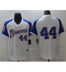 Men Nike Atlanta Braves Hank Aaron 44 Authentic White Cool Base MLB Jersey