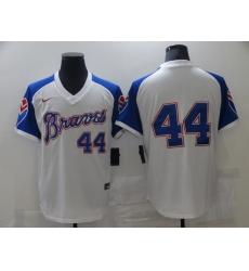 Men Nike Atlanta Braves Hank Aaron 44 White Blue Pullover Jersey