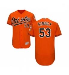 Mens Baltimore Orioles 53 Dan Straily Orange Alternate Flex Base Authentic Collection Baseball Jersey
