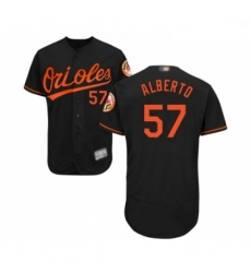 Mens Baltimore Orioles 57 Hanser Alberto Black Alternate Flex Base Authentic Collection Baseball Jersey