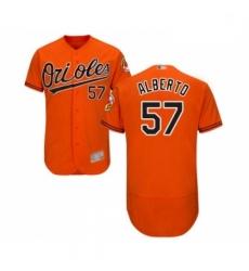 Mens Baltimore Orioles 57 Hanser Alberto Orange Alternate Flex Base Authentic Collection Baseball Jersey
