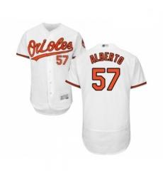 Mens Baltimore Orioles 57 Hanser Alberto White Home Flex Base Authentic Collection Baseball Jersey