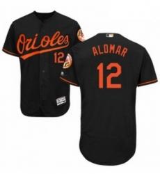 Mens Majestic Baltimore Orioles 12 Roberto Alomar Black Alternate Flex Base Authentic Collection MLB Jersey