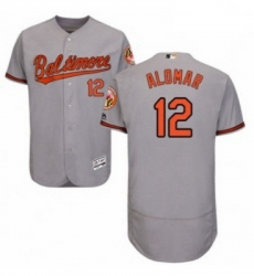 Mens Majestic Baltimore Orioles 12 Roberto Alomar Grey Road Flex Base Authentic Collection MLB Jersey