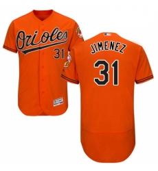 Mens Majestic Baltimore Orioles 31 Ubaldo Jimenez Orange Alternate Flex Base Authentic Collection MLB Jersey