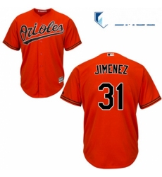 Mens Majestic Baltimore Orioles 31 Ubaldo Jimenez Replica Orange Alternate Cool Base MLB Jersey