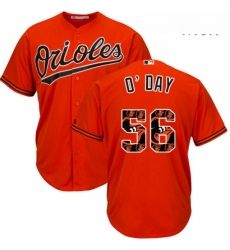 Mens Majestic Baltimore Orioles 56 Darren ODay Authentic Orange Team Logo Fashion Cool Base MLB Jersey