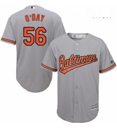 Mens Majestic Baltimore Orioles 56 Darren ODay Replica Grey Road Cool Base MLB Jersey