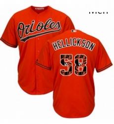 Mens Majestic Baltimore Orioles 58 Jeremy Hellickson Authentic Orange Team Logo Fashion Cool Base MLB Jersey