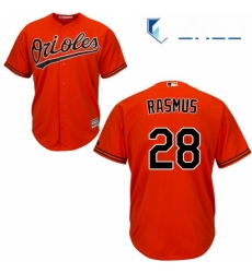 Youth Majestic Baltimore Orioles 28 Colby Rasmus Replica Orange Alternate Cool Base MLB Jersey
