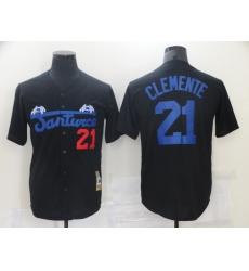 Men Santwice 21 Film Roberto Clemente Black Base Ball Jersey