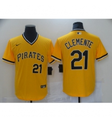 Men's Nike Pittsburgh Pirates #21 Roberto Clemente Gold Showtime Authentic Jersey