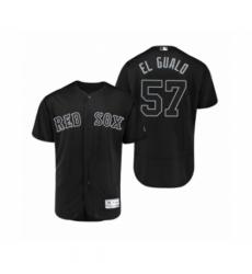 Men's Red Sox #57 Eduardo Rodriguez El Gualo Black 2019 Players Weekend Authentic Jersey