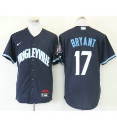 Men Chicago Cubs 17 Kris Bryant Navy Blue 2021 City Connect Stitched MLB Cool Base Nike Jersey