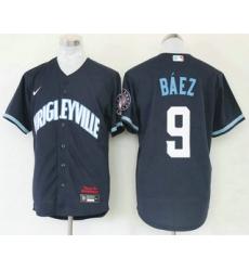 Men Chicago Cubs 9 Javier Baez Navy Blue 2021 City Connect Stitched MLB Cool Base Nike Jersey