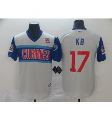 Men's Chicago Cubs #17 Kris Bryant KB Authentic White Baseball Jersey